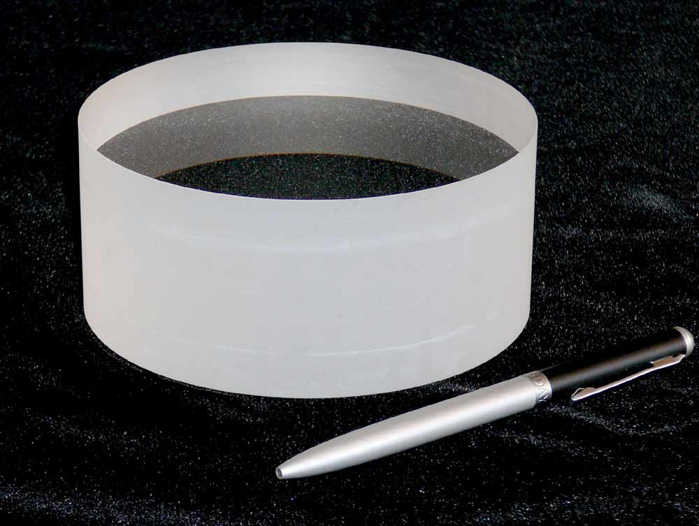 Large cylindrical lenses.